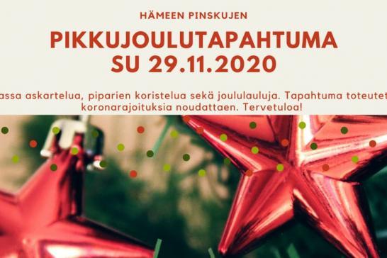 kuvassa joulukuusenkoristeita, järjestön logo