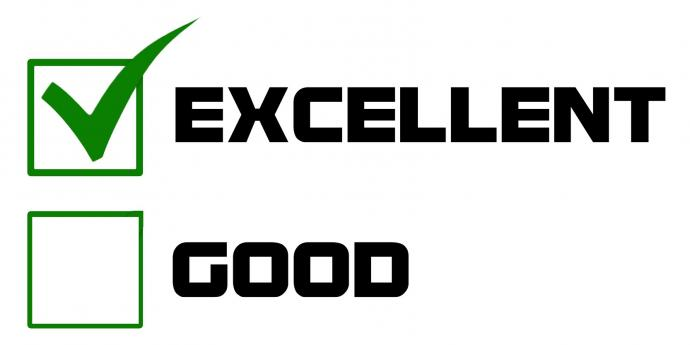 """Valintalaatikot """"Excellent"""", """"Good"""" ja """"Average"""" joista ensimmäinen on rastitettu."""