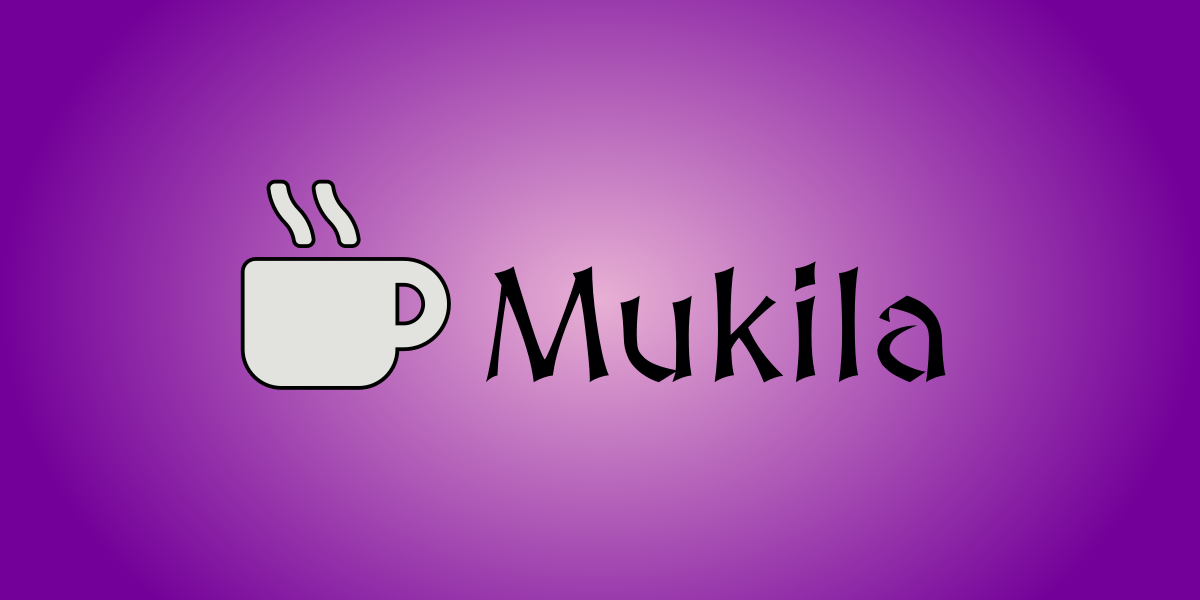 Mukilan logo violetilla taustalla.